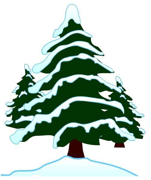jpg library Snow covered kid christmas. Snowing clipart tree.