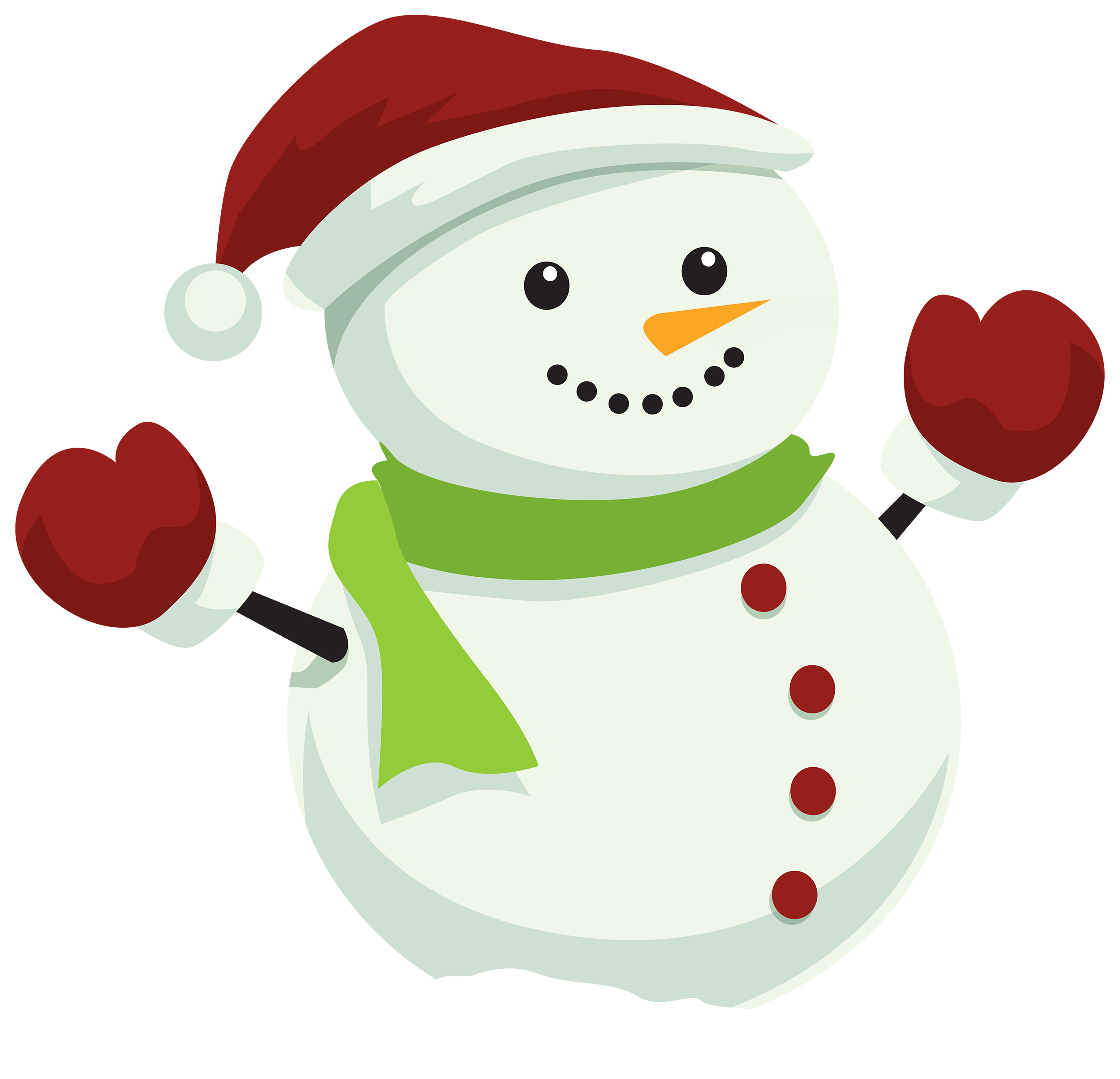image black and white stock Snowman with Christmas Hat PNG Clipart