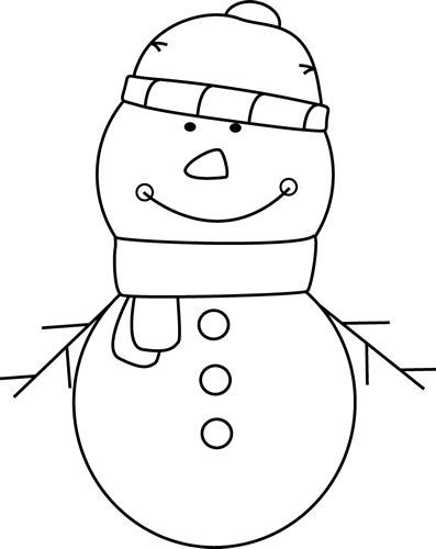 picture free stock Black and White Snowman Clip Art