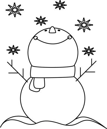clip royalty free download Snowman face clipart black and white. Catching snowflakes clip art