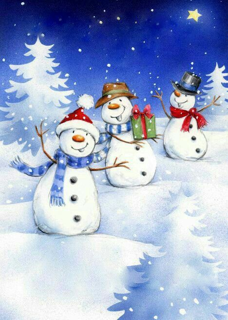 vector black and white download Snowmen clipart canvas. We three have fun.