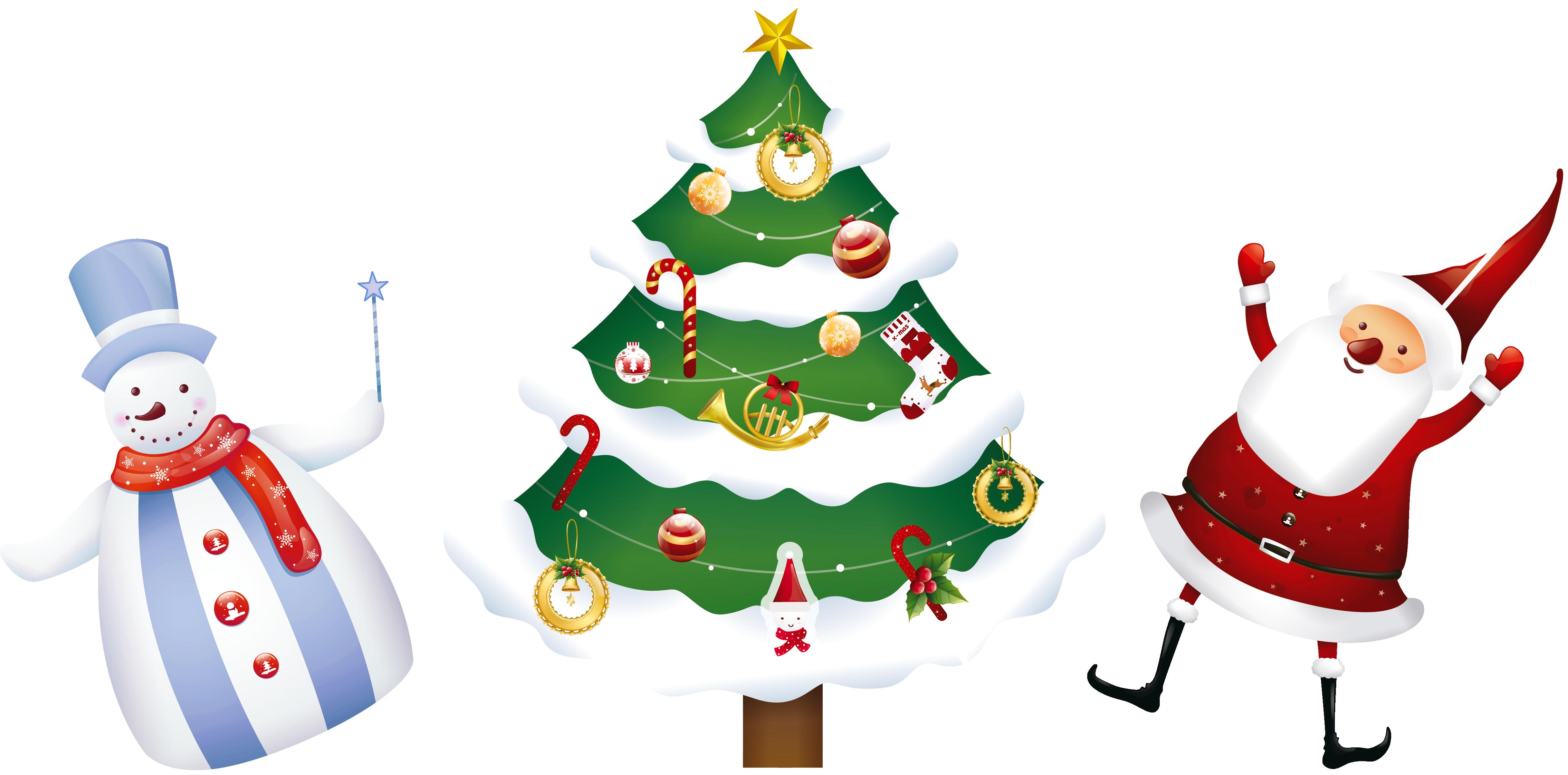 jpg royalty free stock Transparent Christmas Santa Tree and Snowman PNG Clipart