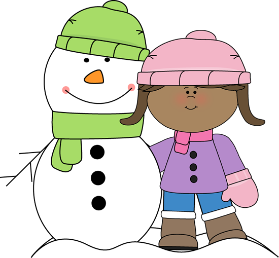 graphic black and white stock Girl with Snowman