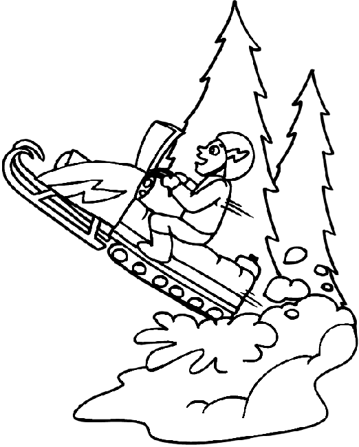 svg black and white Snowmobile drawing. Skidoo transportation printable coloring.