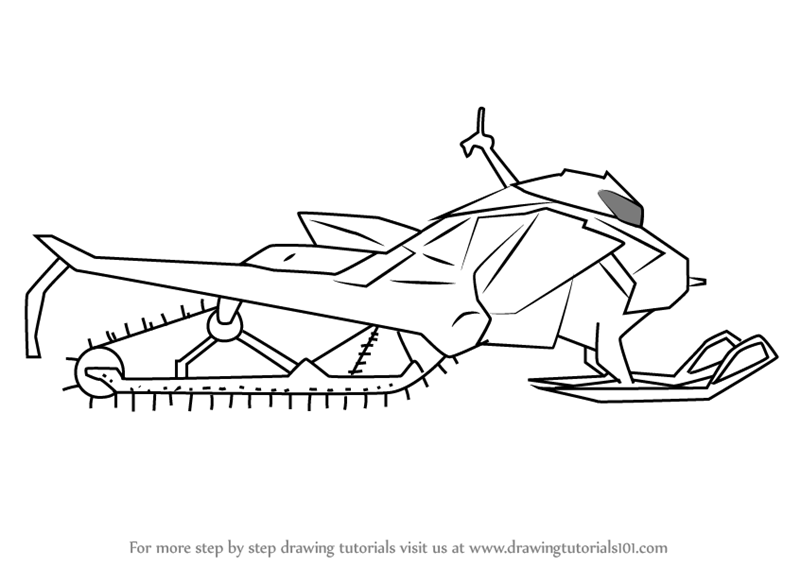 image royalty free library Snowmobile drawing. Learn how to draw.