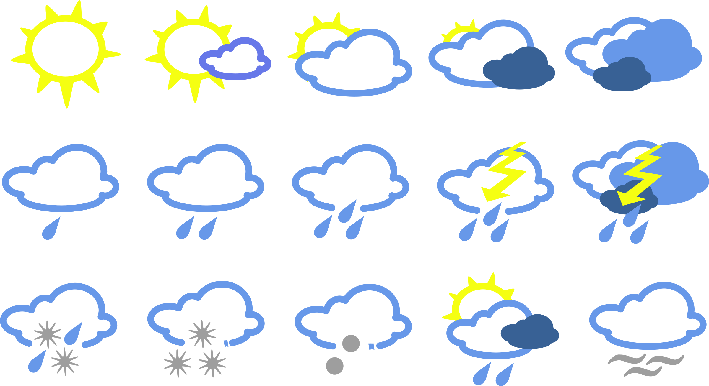 graphic black and white download Simple weather symbols big. Snowy clipart misty.