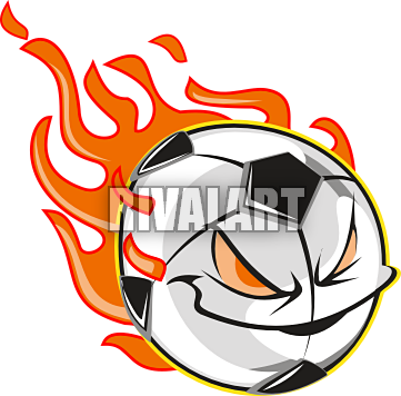 clip art black and white download Soccer Ball With Flames Clipart