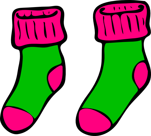 image freeuse stock Green pink clip art. Sock clipart.
