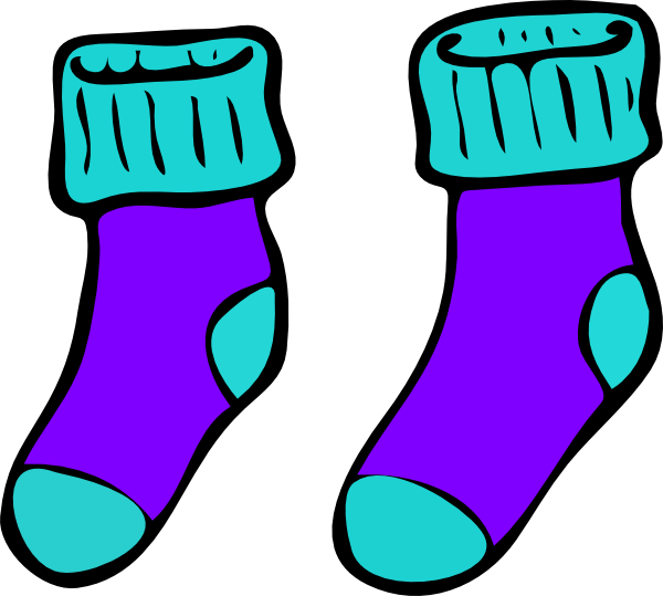 png free library Turquoise Purple Sock Clip Art at Clker