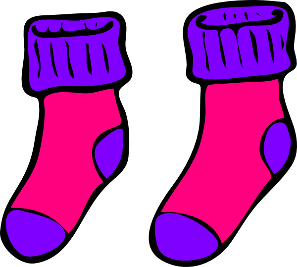 clip freeuse stock Pink Purple Sock Clip Art at Clker