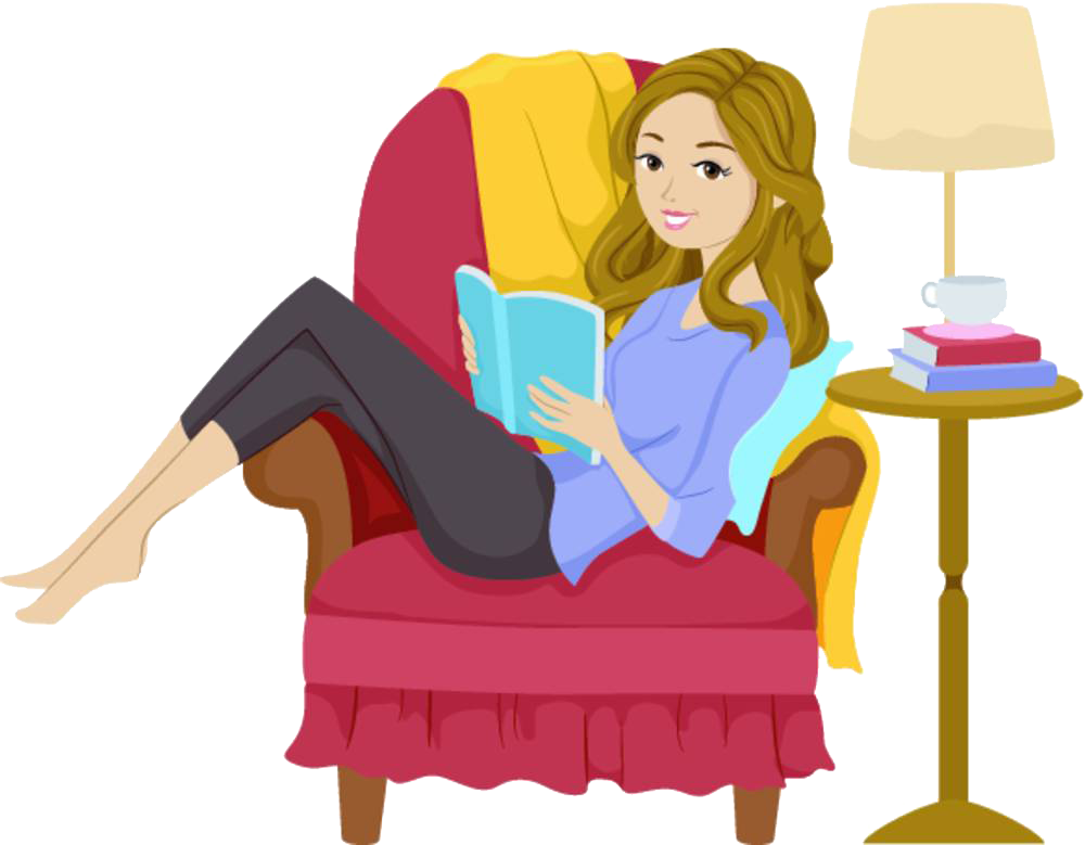 clip art royalty free Reading girl book clip. Relaxing clipart relaxed woman