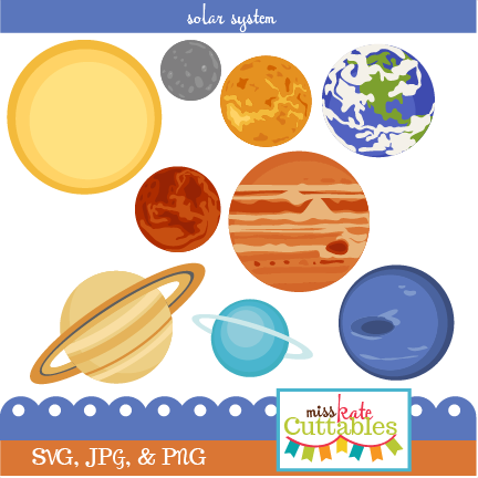 clipart freeuse download Solar system clipart. Set svg scrapbook cut.
