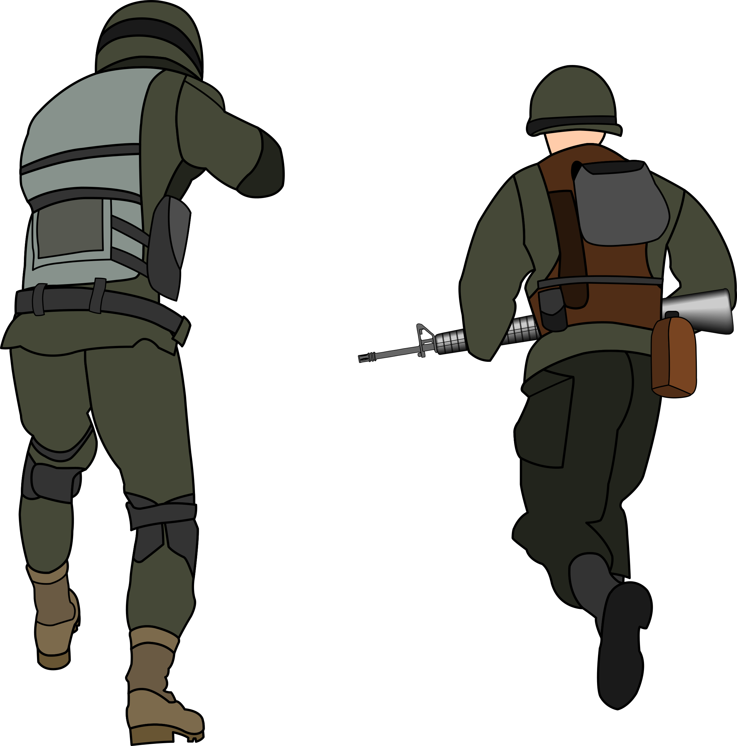 clip download Army soldier clipart. Soldiers charging rear view