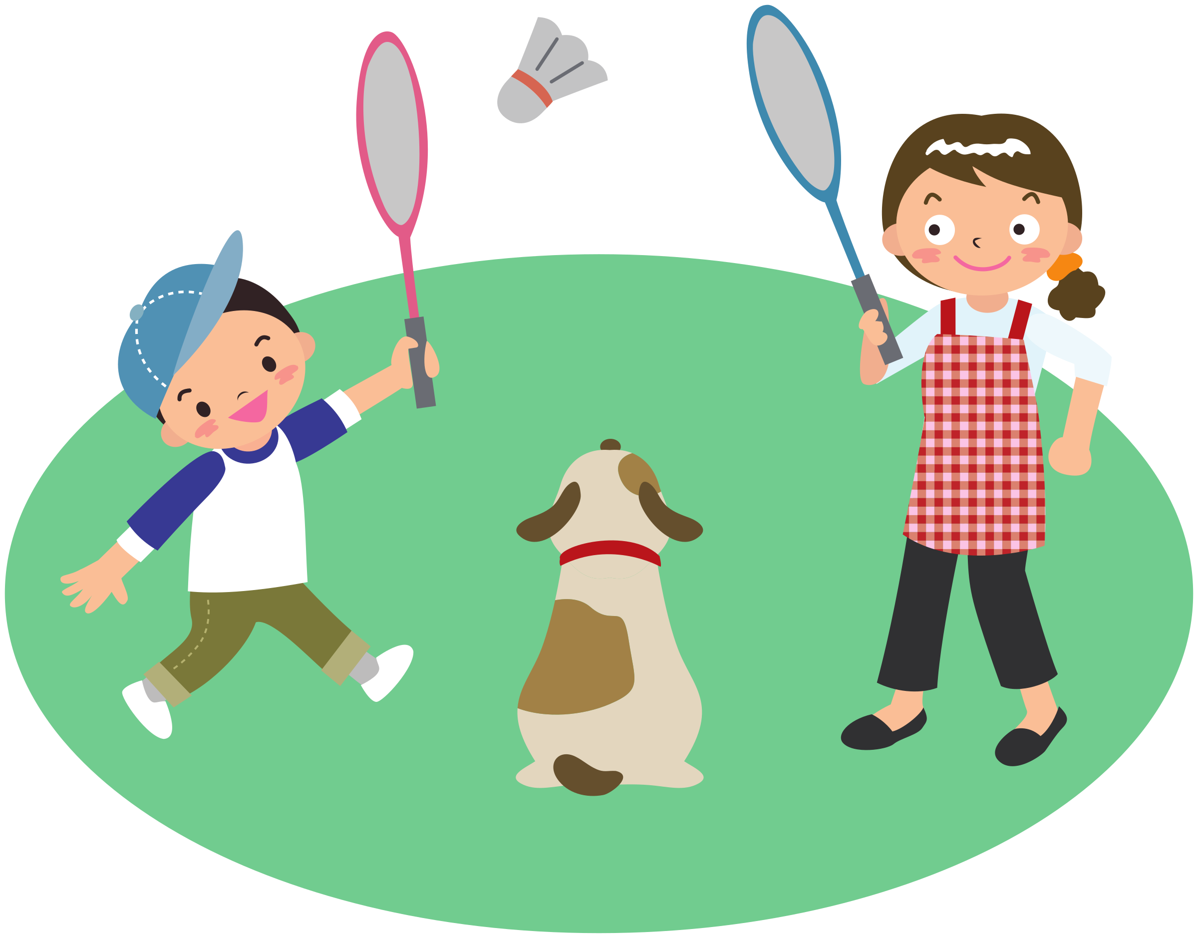 image library Badminton clipart kid play. Mother plays with son.