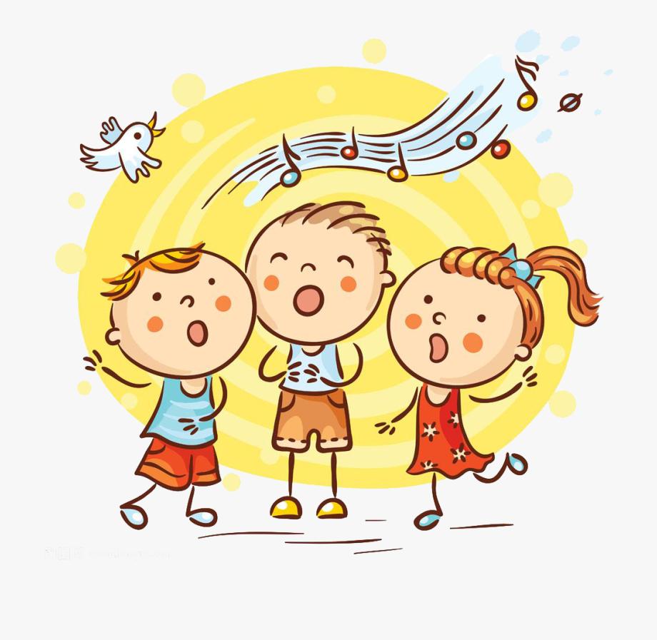 clip art stock Cartoon song illustration children. Kids singing clipart