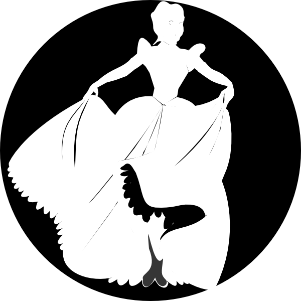 clip freeuse download Cinderella black and white clipart. Princess silhouette in background