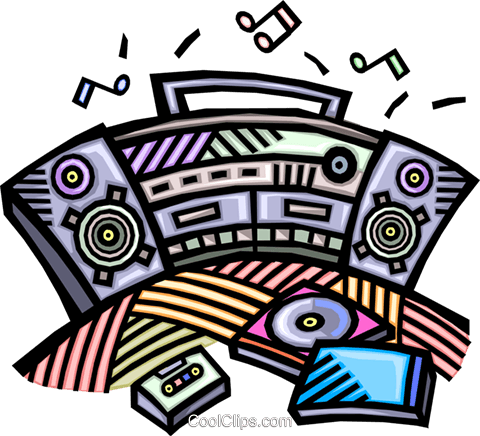 clipart library Stereo group portable royalty. Boombox clipart music system