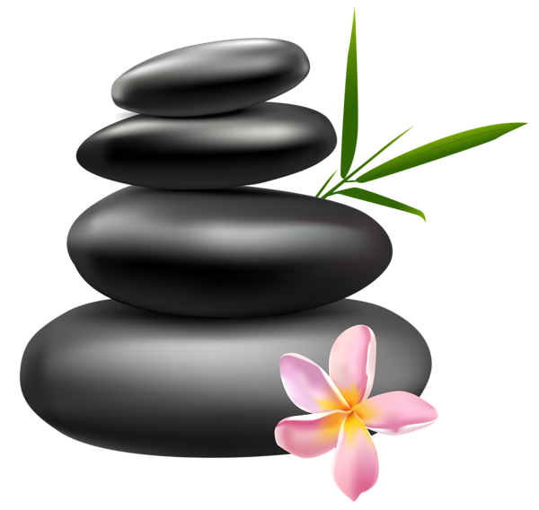 banner black and white Spa Stones with Pink Flower PNG Clipart Image