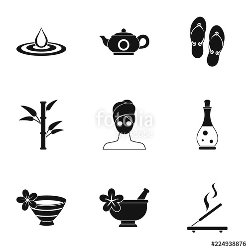 clip art royalty free Icons set simple illustration. Spa vector.