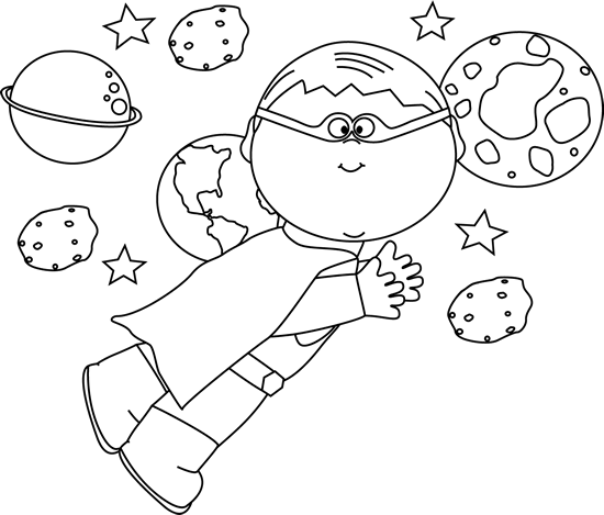 clipart royalty free download Black and White Superhero Boy Flying In Space Clip Art