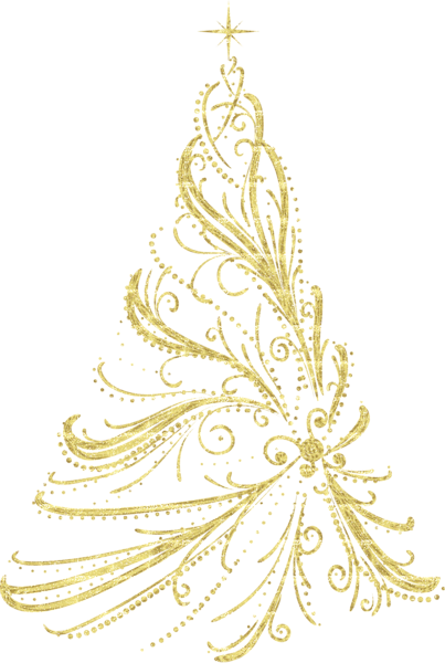 vector free library Transparent Golden Decorative Christmas Tree PNG Clipart More