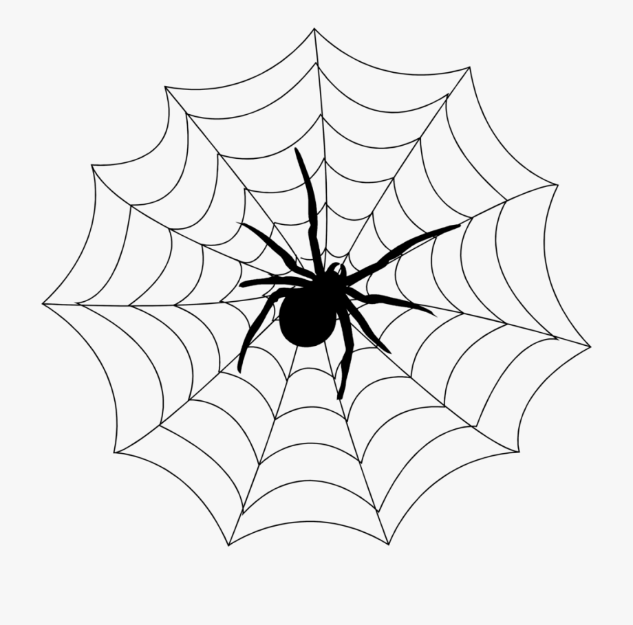 picture black and white stock Transparent of a . Spider in web clipart