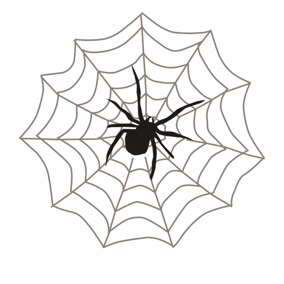 vector freeuse Silhouette png free . Spider on web clipart