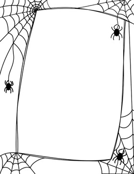 vector black and white library Halloween spiders and webs. Spider web border clipart