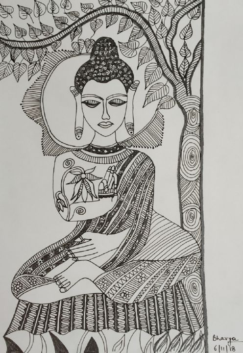 picture library Lord buddha by bhavya. Spiritual drawing pen