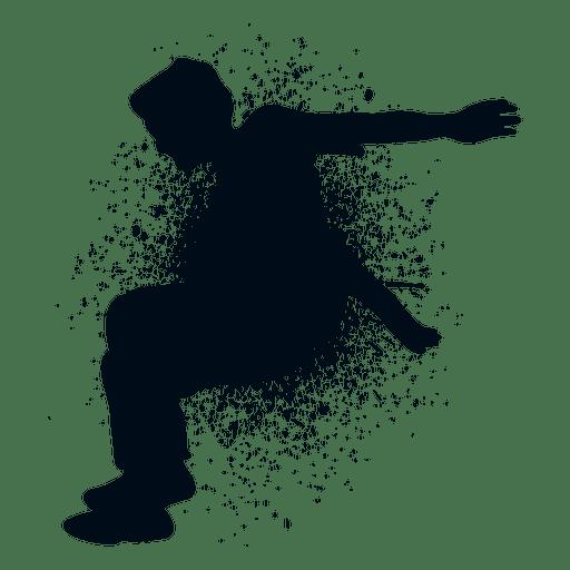 graphic royalty free stock Man jumping splash paint silhouette