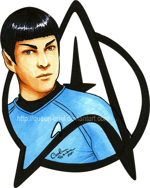 image black and white library Spock in Copic by Queen