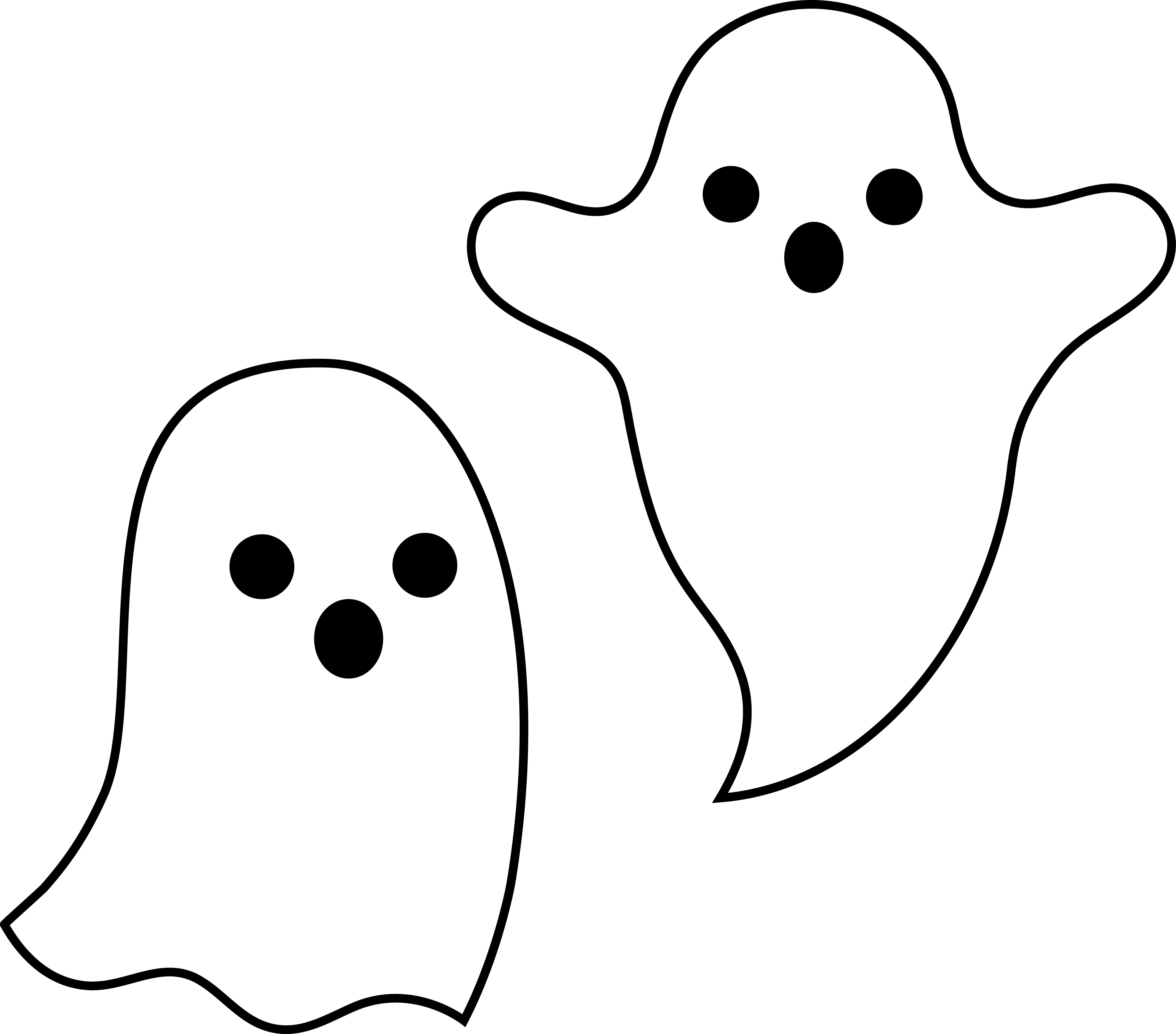 vector freeuse Simple Spooky Halloween Ghosts