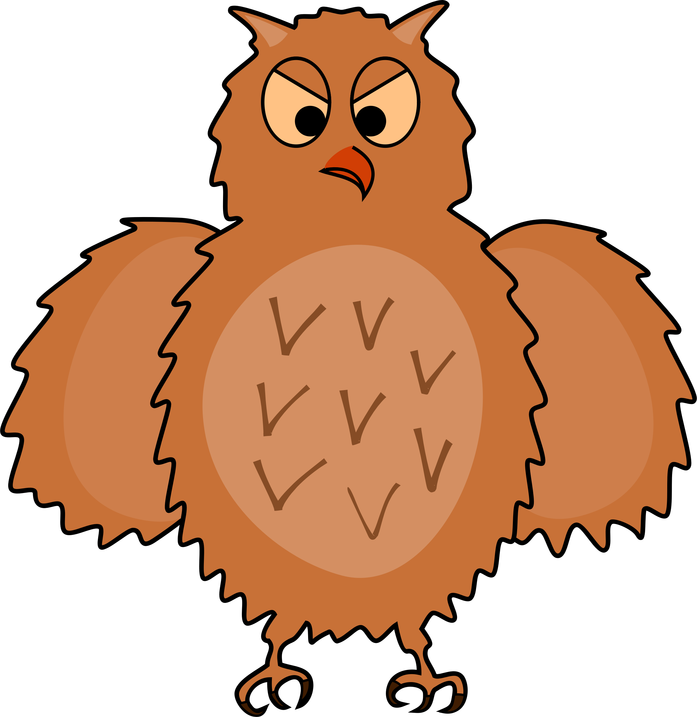 clip Spread clipart. Enraged owl front view