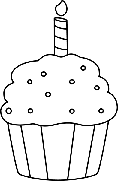 png transparent library Cupcake clipart black and white. Birthday clip art