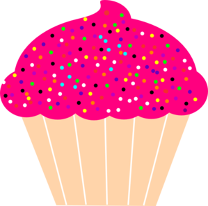 clip art freeuse library Cupcake With Pink Frosting And Sprinkles Clip Art lots of from files