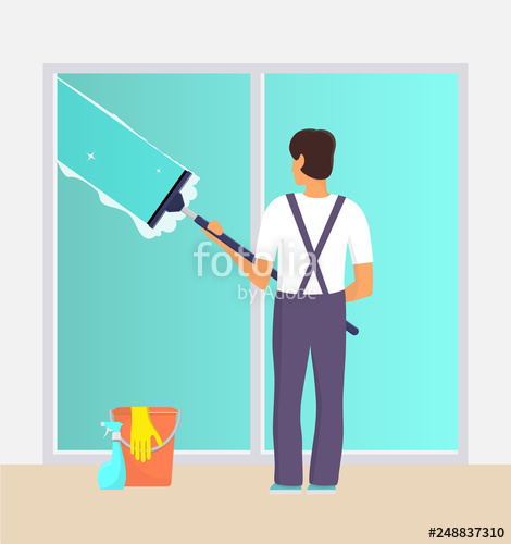 vector royalty free stock Man in uniform cleaning window with glass scraper and