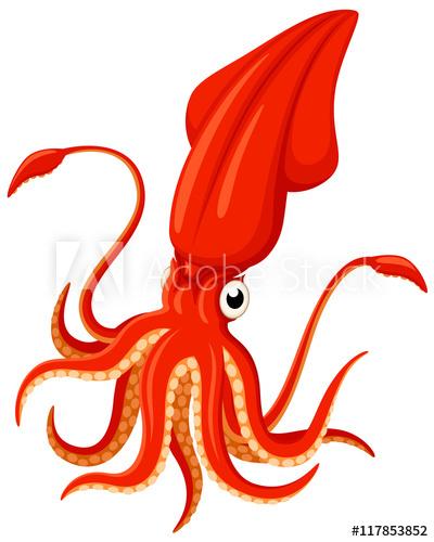 svg freeuse download Vector illustration of a bright orange cartoon squid