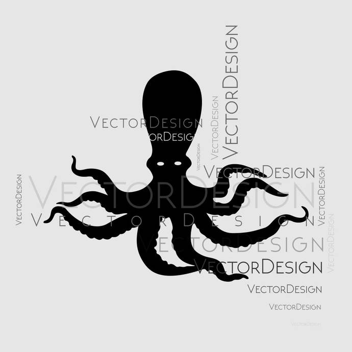 graphic black and white download Octopus Squid Nautical Sea Animal Graphics SVG Dxf EPS Png Cdr Ai Pdf  Vector Art Clipart instant download Digital Cut Print File shirt