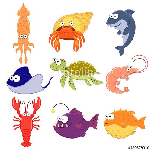 image free stock Big vector set of sea creatures