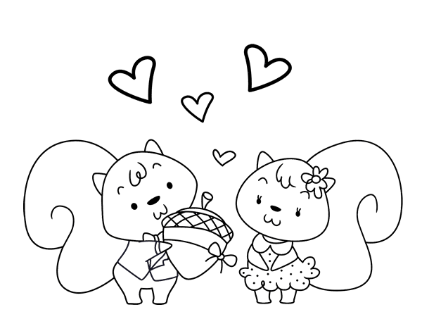 clip royalty free stock Squirrels in love coloring page