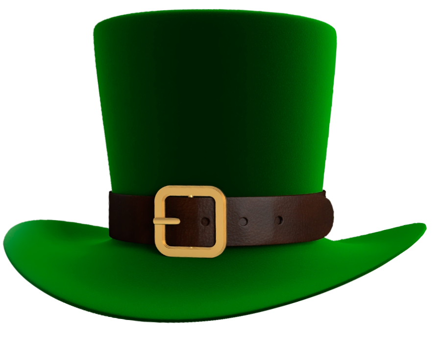 banner freeuse library St patrick day green. Leprechaun hat clipart black and white