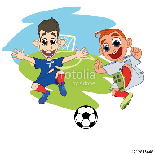 vector library library Cartoons Soccer players play the ball at the stadium