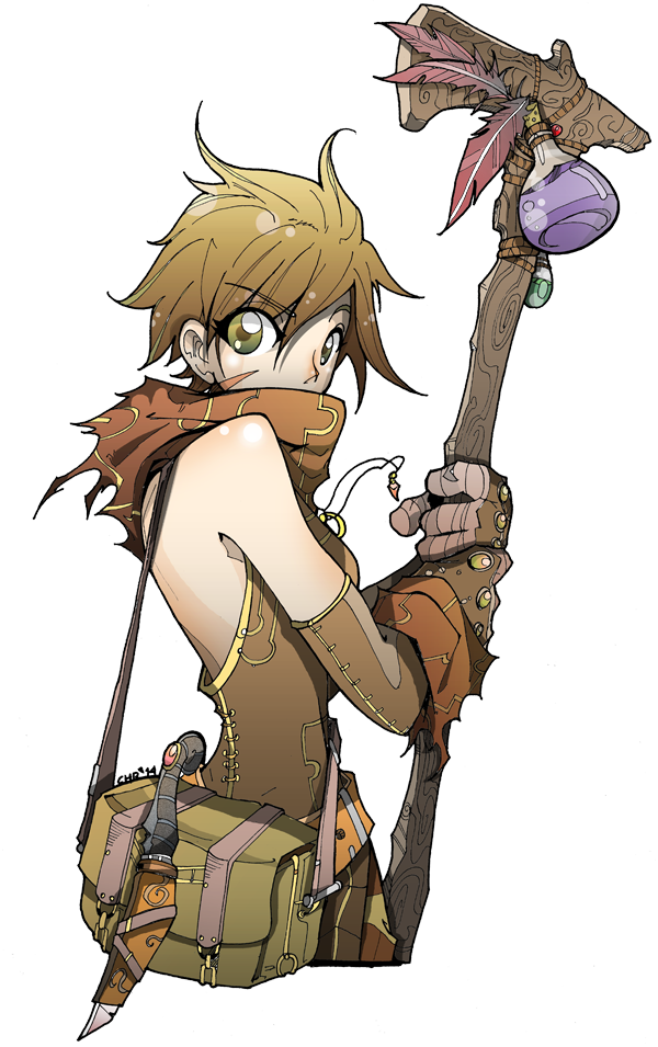 banner library stock Girl with wooden staff and a nice scarf by fiyarbird on DeviantArt