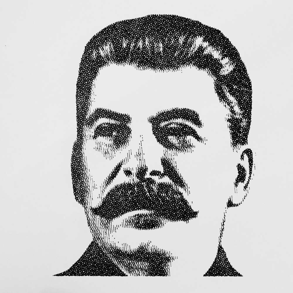 image black and white library Josef pencil on paper. Stalin drawing.