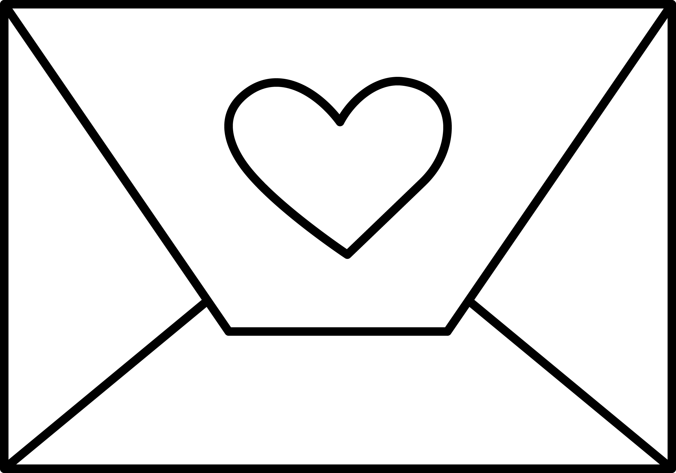 clipart black and white download Love letter