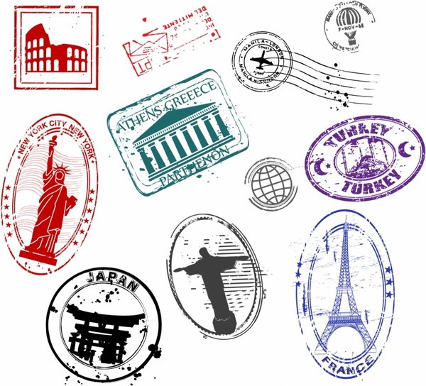 picture royalty free stock Famous Monument Travel Stamps Free vector in Adobe