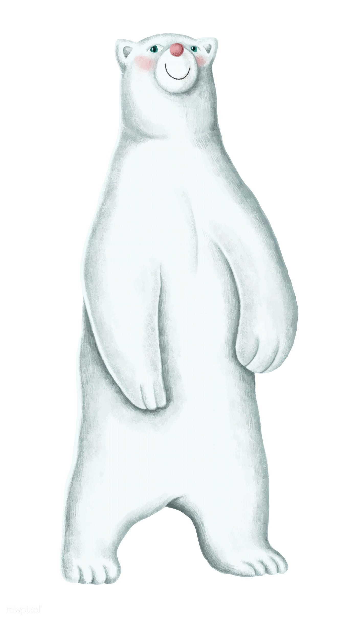 vector freeuse Hand drawn white free. Standing polar bear clipart