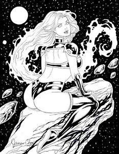 picture stock Details about STARFIRE OF TEEN TITANS ORIGINAL COMIC ART BLACK INK SKETCH  ON CARDSTOCK