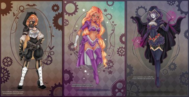 graphic black and white download Awesome Steampunk DC Superheroine Designs By NoFlutter