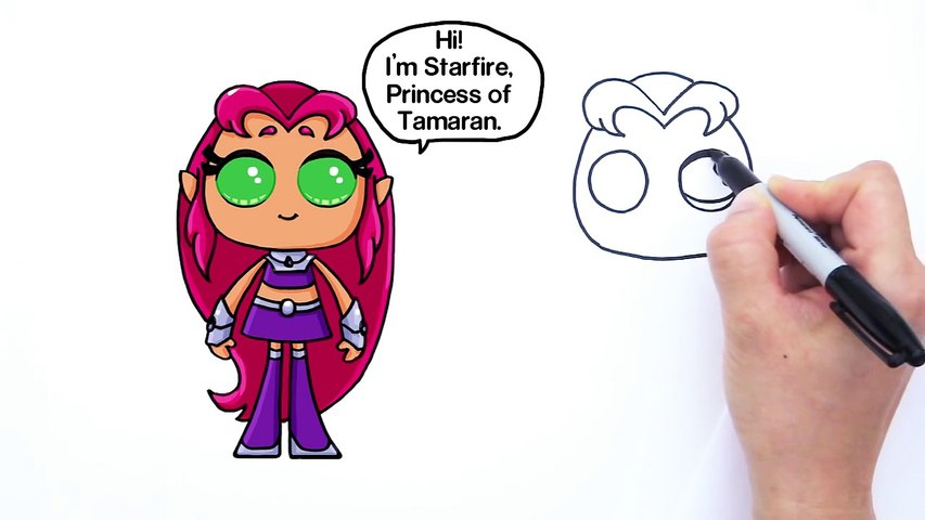 graphic library download How to Draw Starfire from Teen Titans Go Cute Step by step